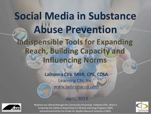 CARS Webinar Social Media in Substance Abuse Prevention