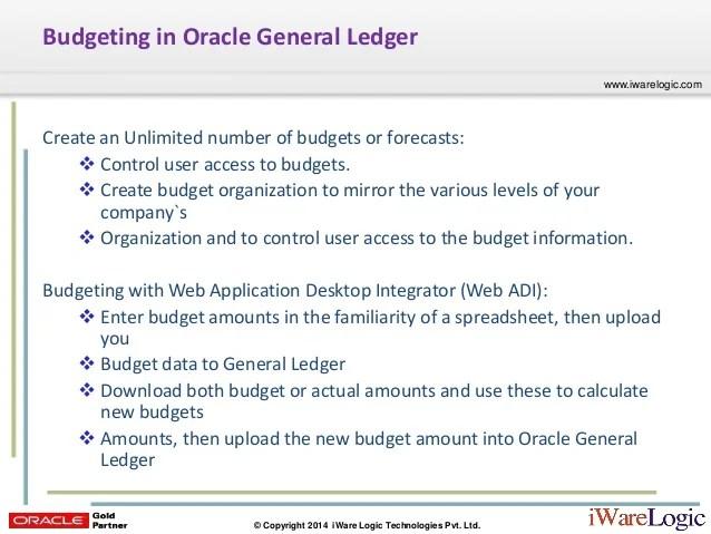 Webcast: BUDGETING - R12.1.3 ORACLE GENERAL LEDGER