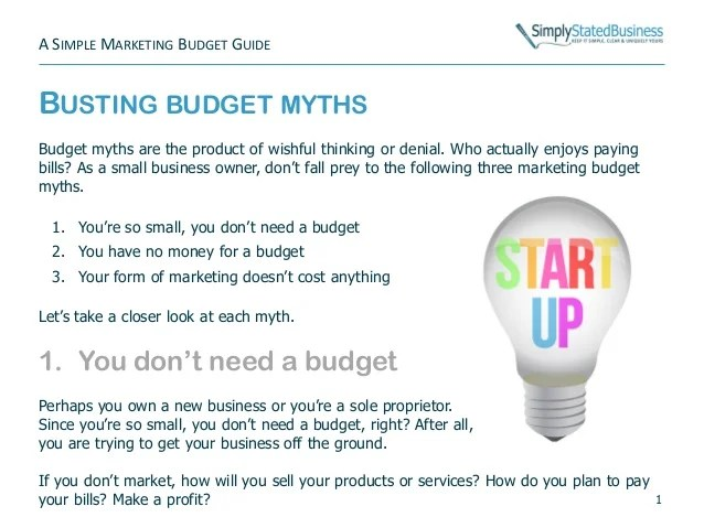 A Simple Marketing Budget Guide: for simple budgets