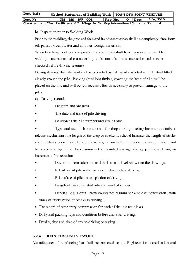 Building Work Method Statement Cm Ms Bw 001