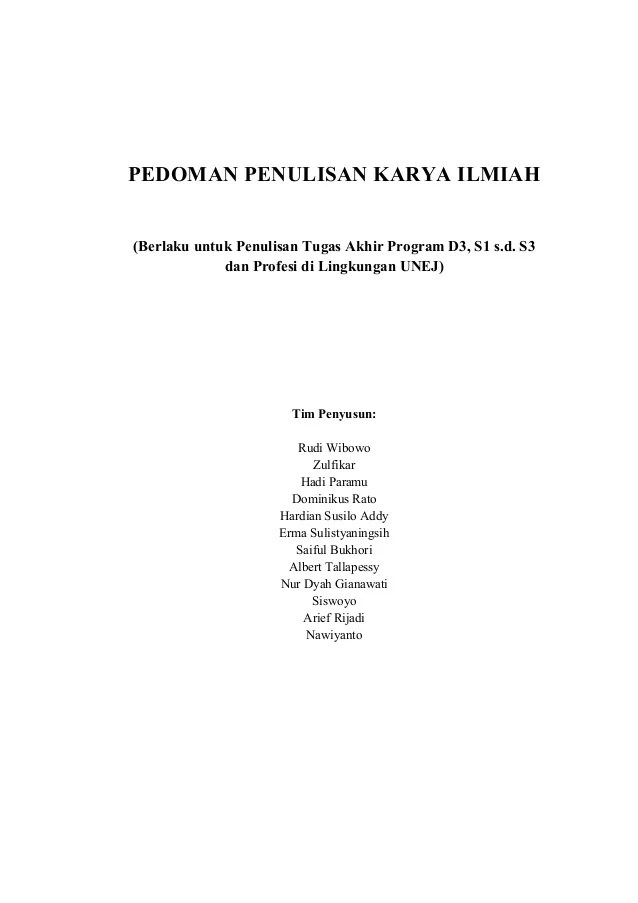 Cara Penulisan Nama Ilmiah : penulisan, ilmiah, Pedoman, Penulisan, Karya, Ilmiah