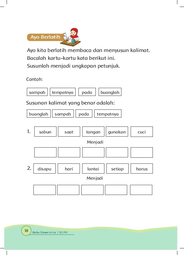 Kalimat Petunjuk Dan Kalimat Tanggapan Tema 6 Kelas 1 Sd Cute766