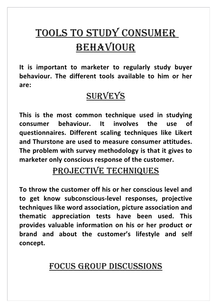 Research Report On Consumer Buying Behaviour Consumer