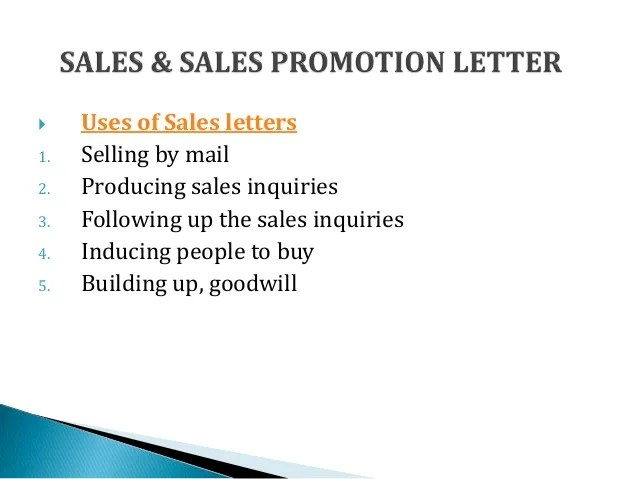 Sales Promotion Letter In Business Communication