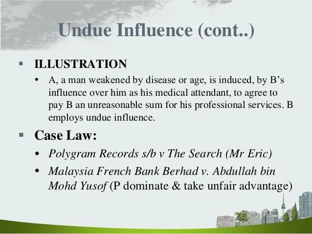 Undue Influence Example