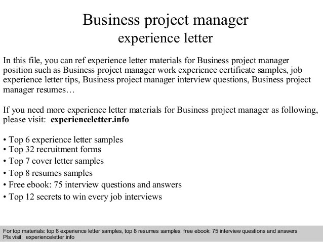 Business Project Manager Experience Letter