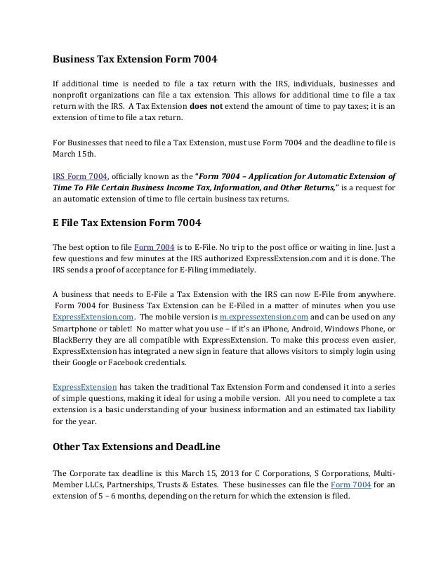 Income Tax Extension Form Income Tax Extension Form