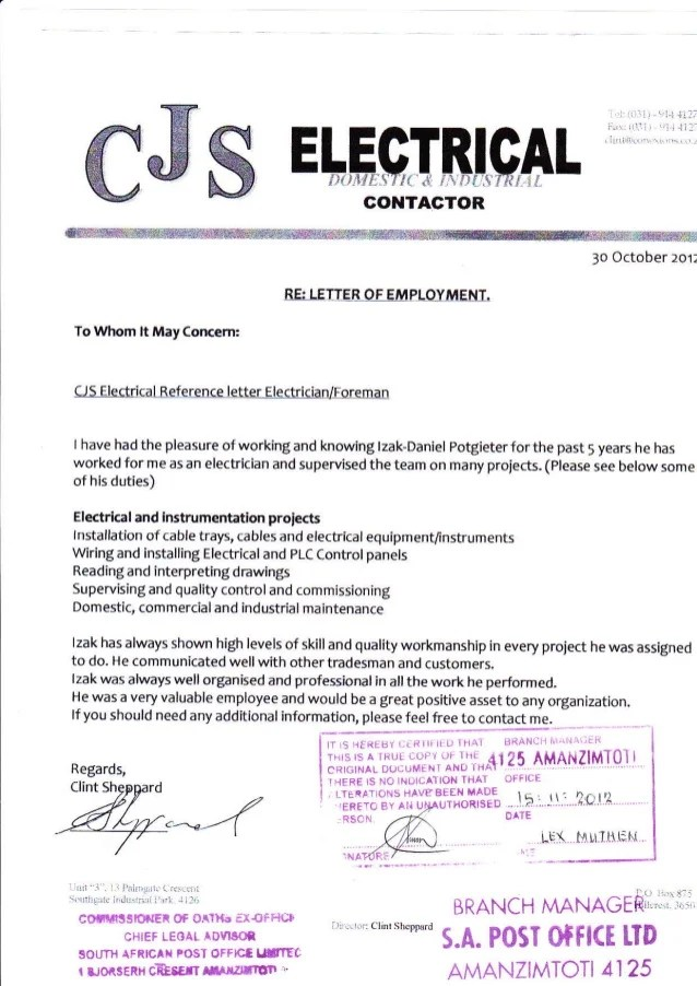sample letter of recommendation for electrical apprentice
