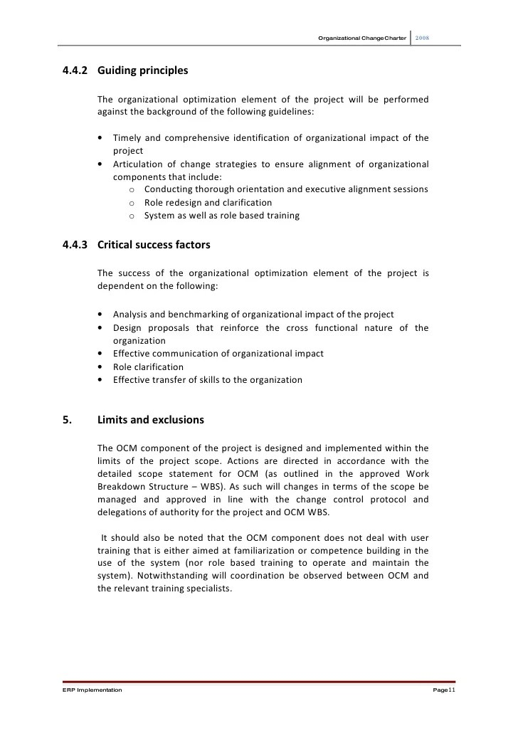 Organizational change charter also project template rh slideshare