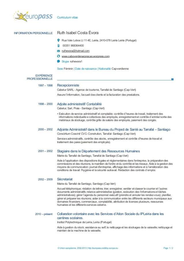 image modele de cv europass en francais modele cv