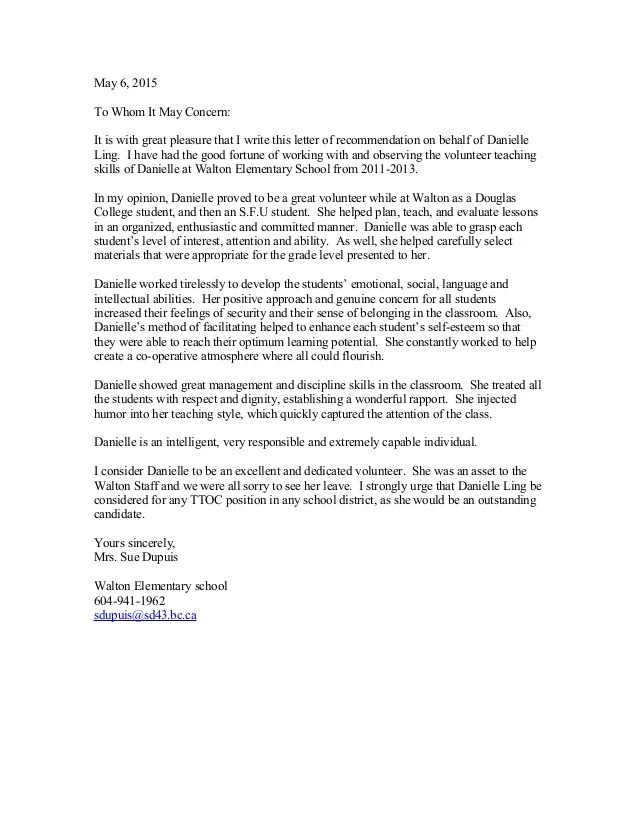 Danielle's Recommendation Letter