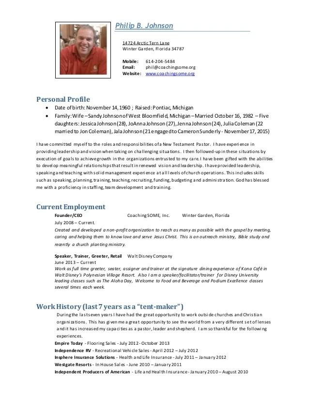 Phil Johnson Pastoral Resume