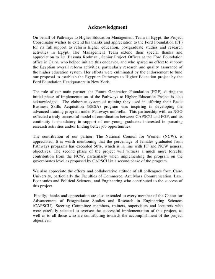 Sample Acknowledgement Thesis Paper Baskan Idai Co