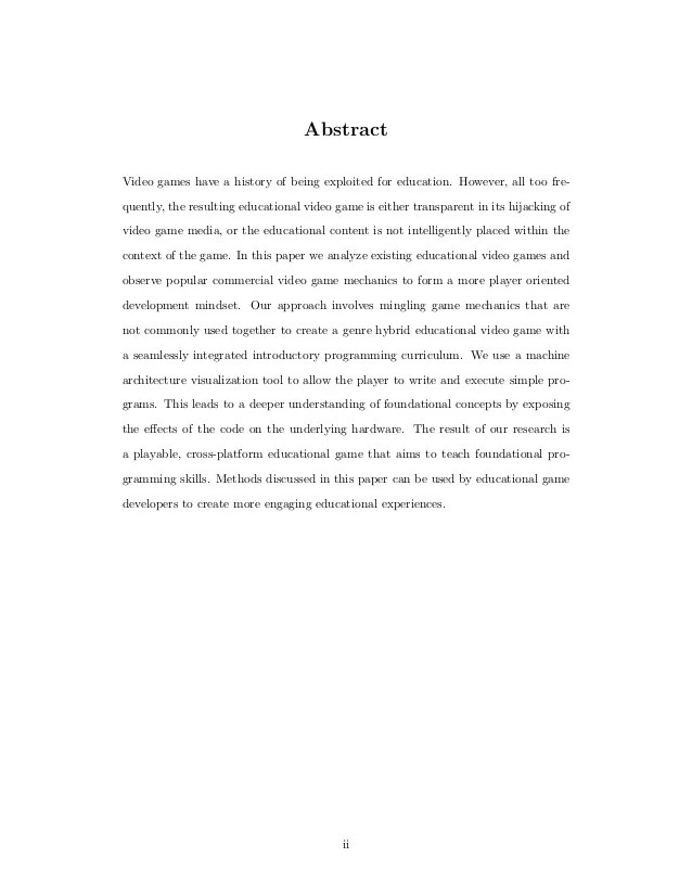 Educational Game Design Thesis