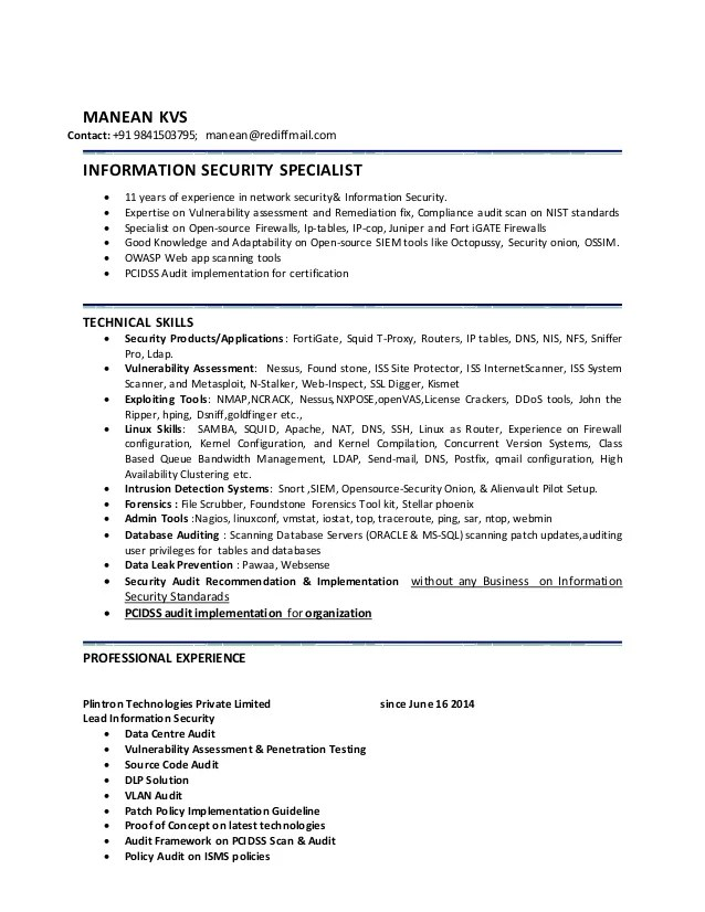 penetration testing sample resume