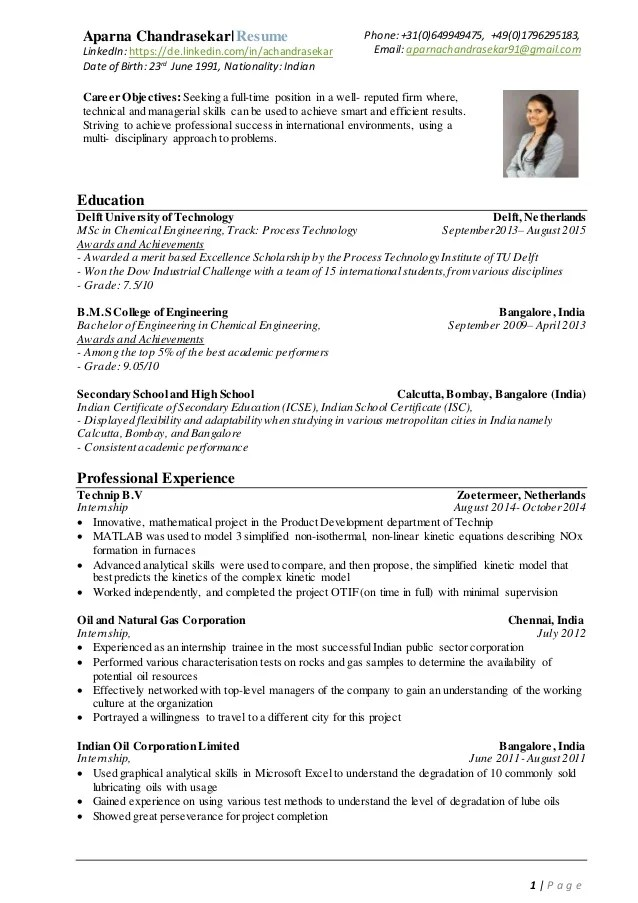 AparnaChandrasekar Resume