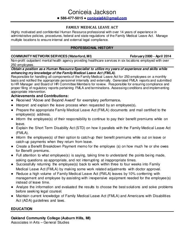 FMLA Resume