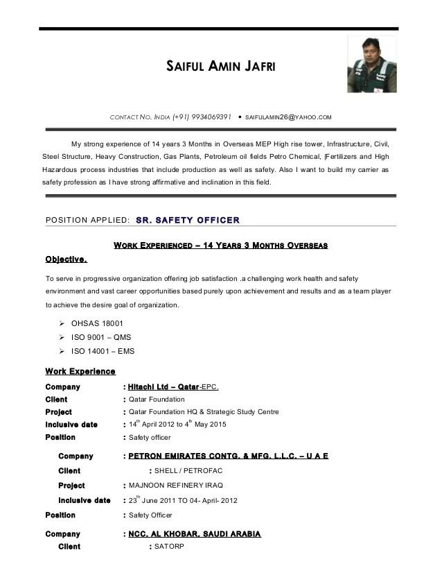 industrial safety officer sample resume