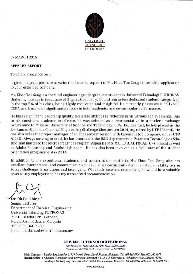 sample letter of recommendation for dietetic internship