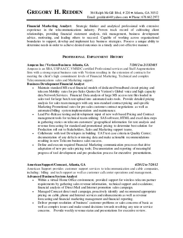 GregoryRedden RESUME Pricing And Business Analyst