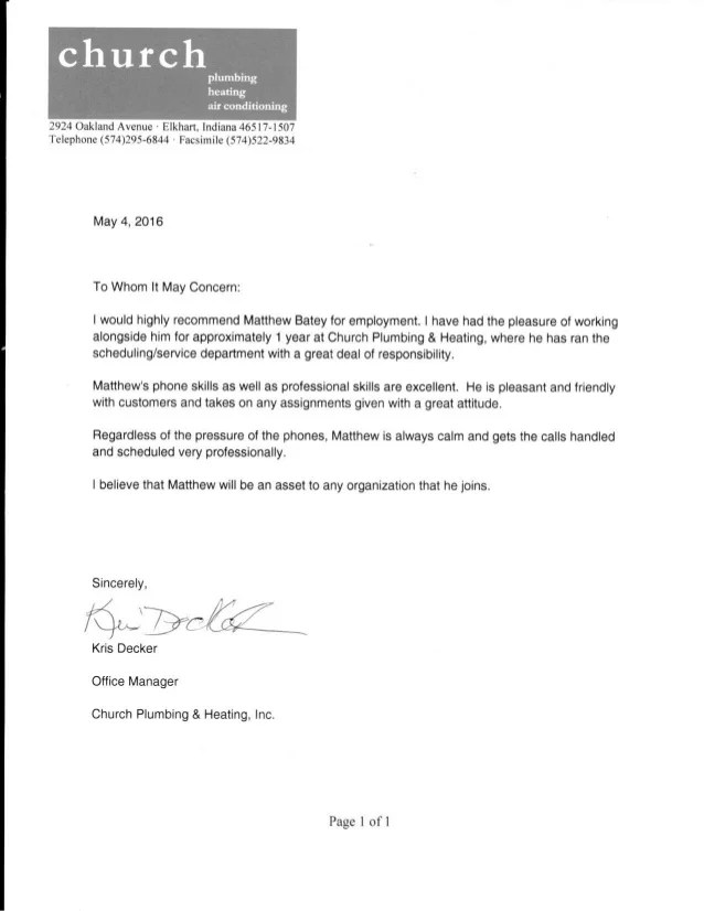 church letter of recommendation
