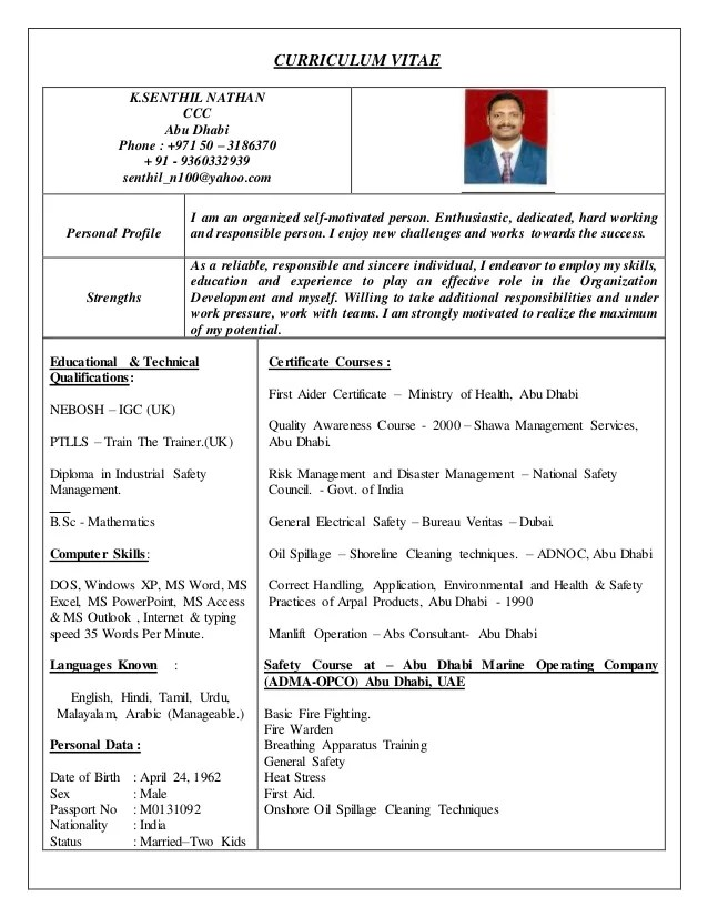 HSE Officer CV