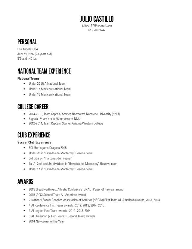 Soccer Player Resume - Unitedijawstates.com