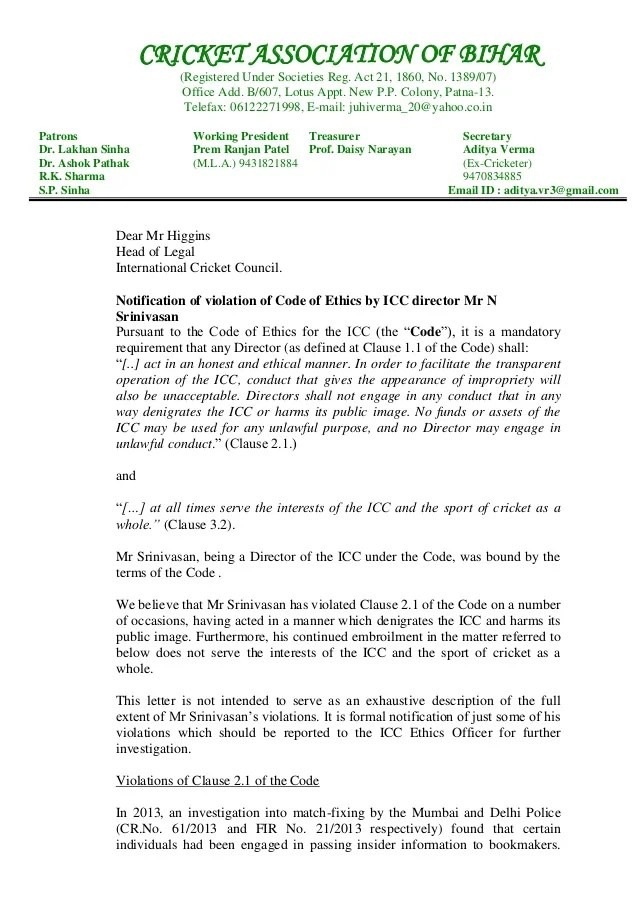 CAB's Letter To ICC
