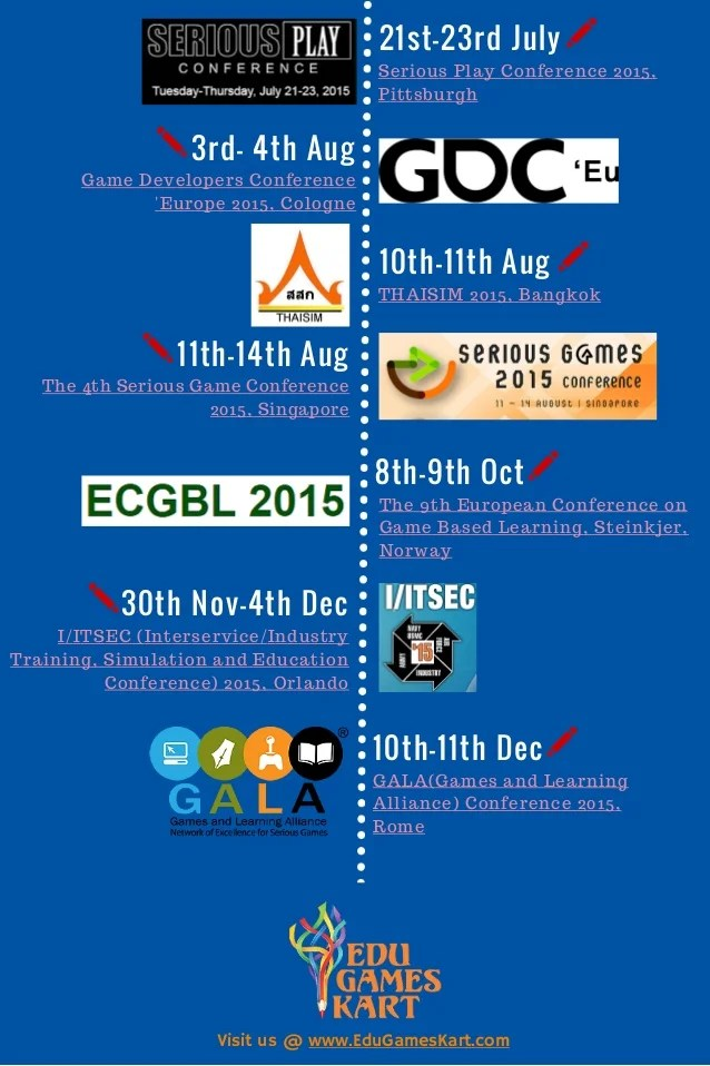 Educational Game Industry Calendar Of Events 2015 For