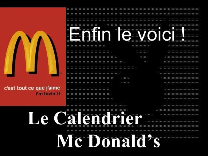 Calendrier Mcdonald S2010