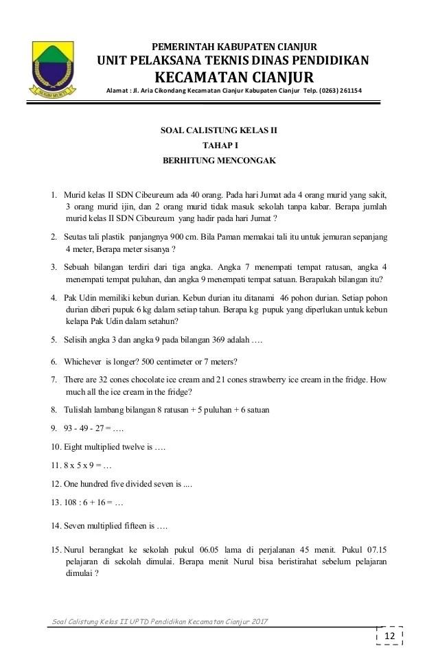 Soal Calistung Kelas 2 : calistung, kelas, Calistung, Kelas, Tahap
