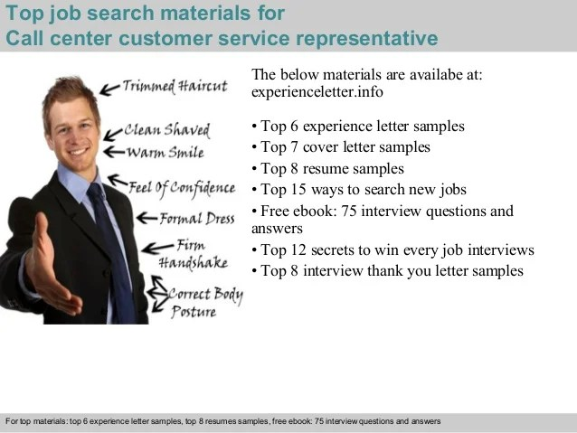 Call center customer service representative experience letter