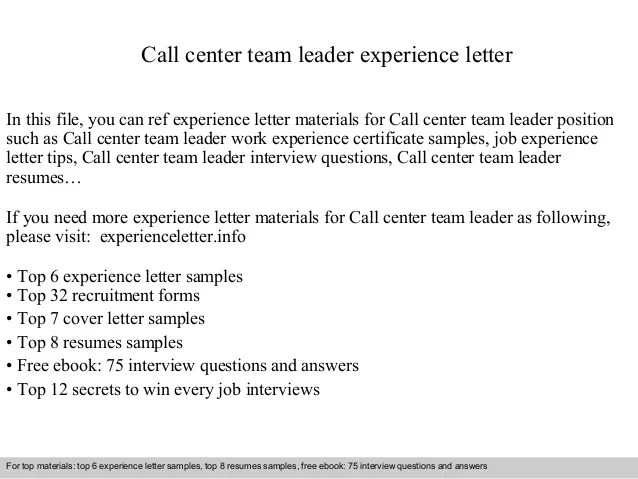 Call Center Team Leader Experience Letter