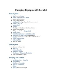 Camping Equipment Checklist from CampingComfortably