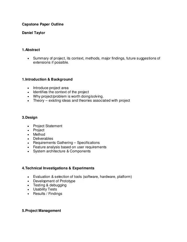 Capstone Essay Capstone Outline Report Professional Capstone Paper