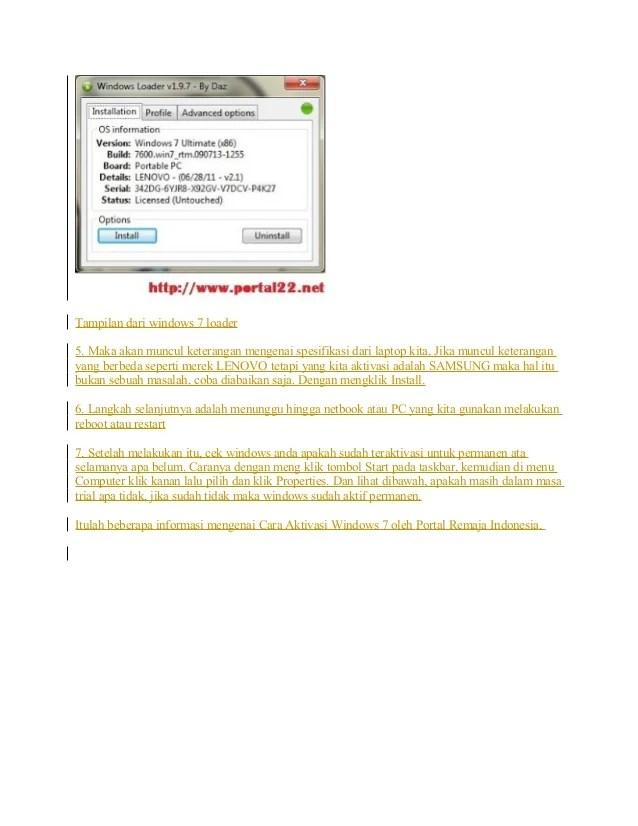 Cara Aktivasi Windows 7 Dengan Windows Loader : aktivasi, windows, dengan, loader, Aktivasi, Windows