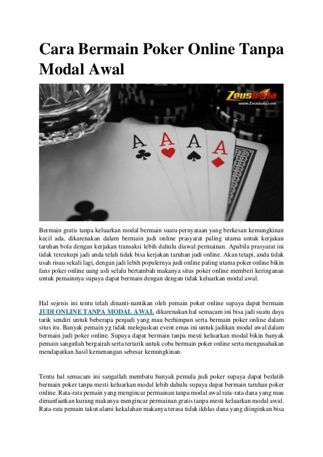 Main Poker Tanpa Modal Dapat Uang : poker, tanpa, modal, dapat, Bermain, Poker, Online, Tanpa, Modal