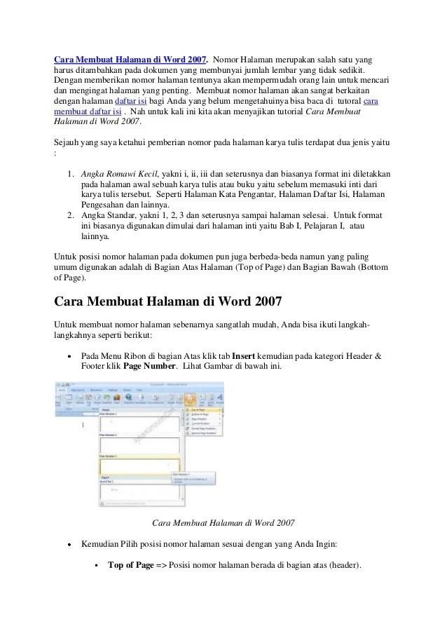 Cara Membuat Halaman Di Word 2007 Untuk Makalah : membuat, halaman, untuk, makalah, Membuat, Halaman