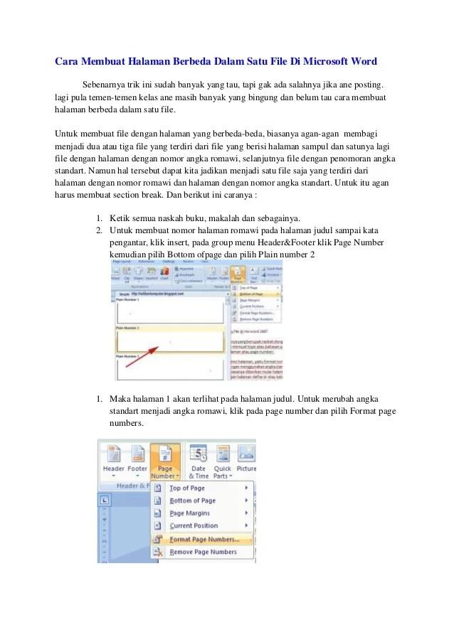 Membuat Halaman Romawi Dan Angka : membuat, halaman, romawi, angka, Membuat, Nomer, Halaman, Berbeda, Microsoft