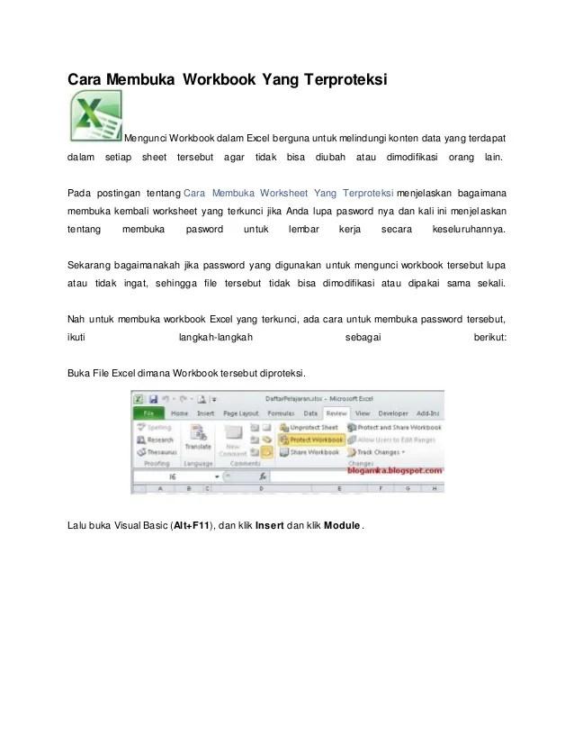 Cara Membuka Workbook : membuka, workbook, Membuka, Workbook, Terproteksi