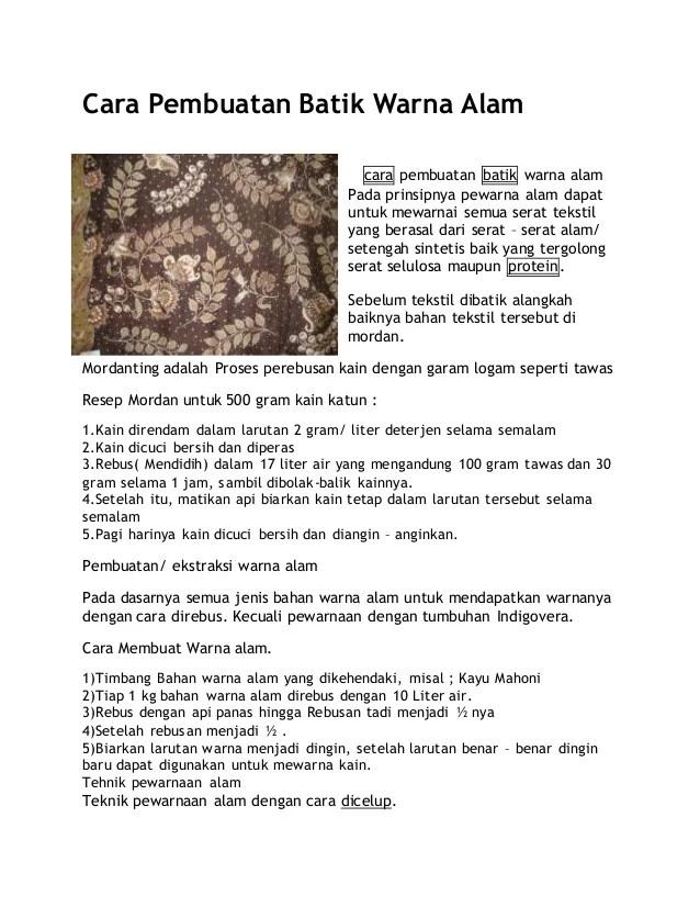 Cara Pembuatan Batik : pembuatan, batik, Pembuatan, Batik, Warna