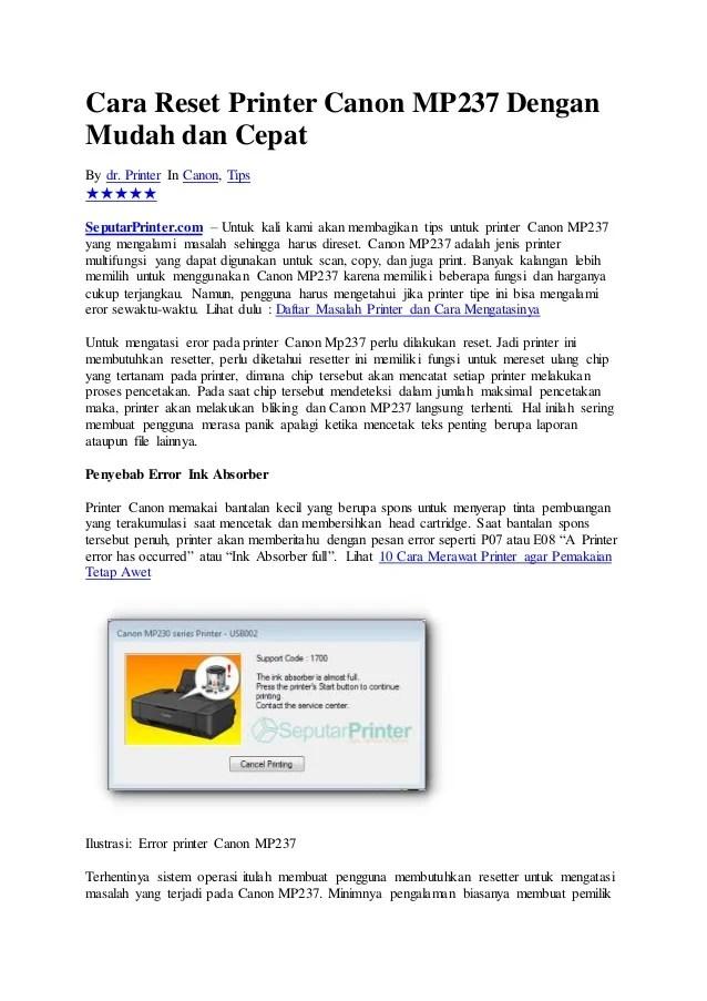 Cara Instal Driver Printer Canon Mp237 : instal, driver, printer, canon, mp237, Reset, Cartridge, Canon, Mp237