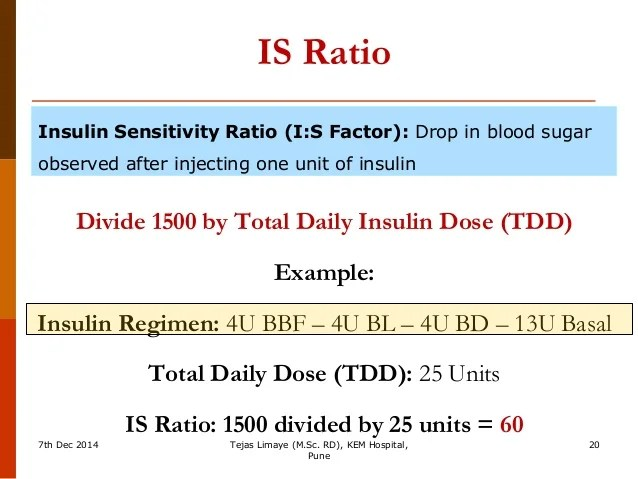 is ratio insulin sensitivity also carbohydrate counting for dose adjustment rh slideshare