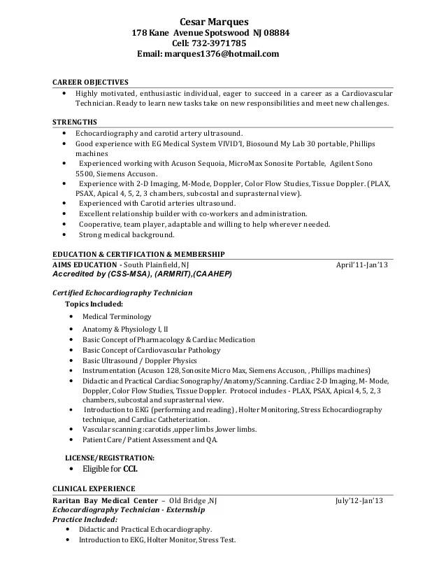 Cardiovascular Tech Resume