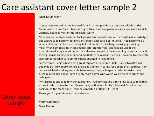 Care assistant cover letter