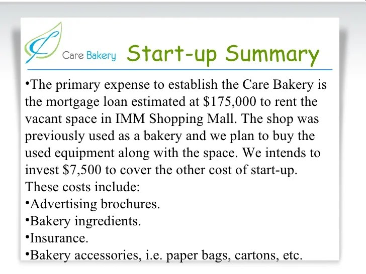 Care Bakery Proposal