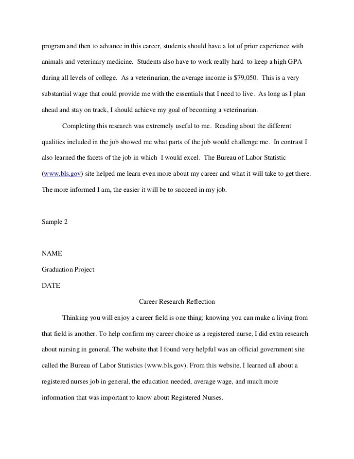Essay Career Career Research Reflection Samples College Essay Career