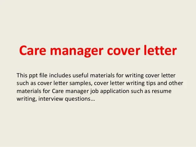 Care Manager Cover Letter