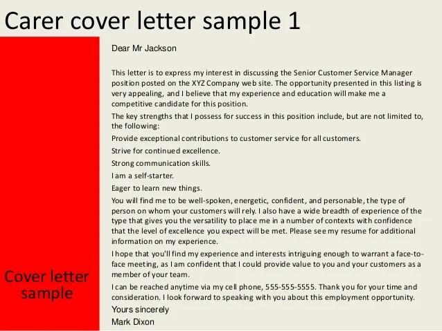 Carer Cover Letter