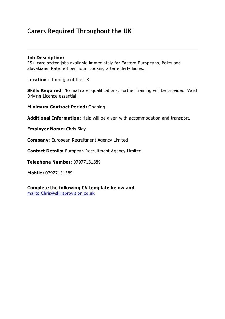 Carers Uk CV Template
